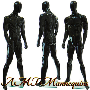 Mannequin Male Standing black glossy hand made muscular