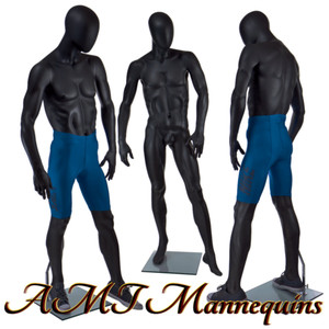 Mannequin Male+stand, Full body, Hand made -David (Black Egghead)