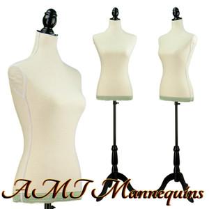 Dress Form Torso White Linen w/Hem (YCV011) - Female (BLACK base)