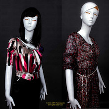 In this composite photo, Maya shows a side-by-side comparison demonstrating the different looks achieved with and without a wig and different clothes. As our customers tell us, Maya's distinctive abstract style works well for cutting edge fashion or younger customers.  As your silent salesperson, Maya flatters clothing, jewelry, and accessories drawing customers' attention to your products.  With easily detached arms, hands, and legs, easily dress her in a variety of outfits.  Maya stands with her right leg just slightly forward.  Both hands are at or below the waist.  The included glass stand stabilizes her for display.  With pierced ears, Cam can also present jewelry.  As you can see different wigs can totally change Maya's appearance.  Go from classic and conservative to frisky and wild - you choose.