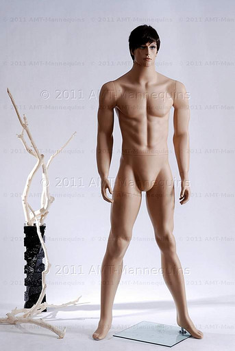 In this full body view photo, wearing a short dark brunette wig / hairpiece, naked mannequin Ed, stands with his legs apart in even stance with his arms straight at his sides.  Mannequin Ed can be displayed with or without a wig / hairpiece.  Glass stand and support hardware included.