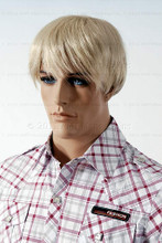 In this closeup, mannequin Matt wears a short blond wig / hairpiece with a plaid shirt.