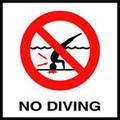 Inlays No Diving Symbol Skid Resistant Depth Marker 6x6 Tile (12-2011) (C621500)