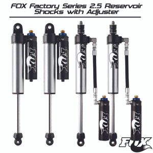 "Fox Factory Series 2.5 Reservoir Shocks with Adjuster Kit [2.5-4"" Lift] - Jeep Wrangler JK [07+]"