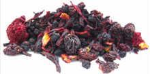 A fruit-lover's infusion. This mélange of hibiscus and berries offers an aromatic and vibrant cup, with a lovely, deep ruby glow. Enjoy warm, or, for warm weather treat, chill and serve over ice with fresh sprigs of spearmint. The definition of refreshing! Naturally caffeine free.
