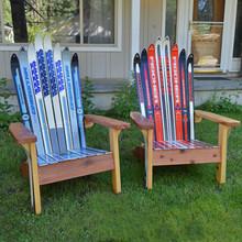 A pair of Classic Redwood Adirondack Ski Chairs