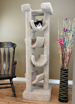 Premier Solid Wood 6-foot Skyscraper Cat Tree-Beige