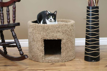 New Cat Condos X-Large Carpeted Cat Bed and House in brown