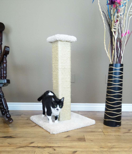 New Cat Condos Premier 33-inch Full Sisal Rope Scratching Post-Beige