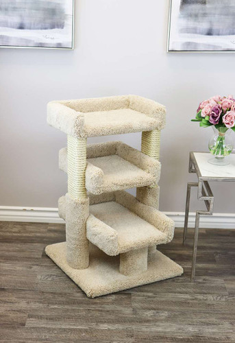 Prestige Cat Trees Solid Wood Large Triple Cat Perch in Beige
