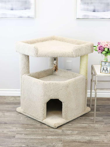 Prestige Cat Trees Solid Wood Condo Mansion in beige