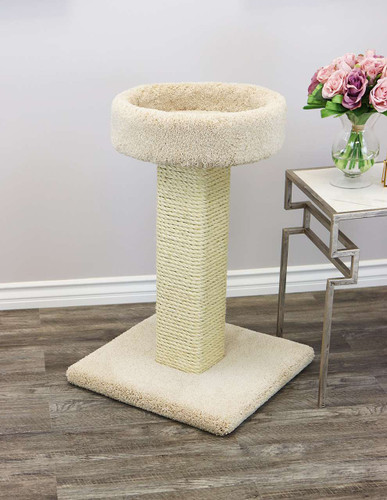 Prestige Cat Trees Solid Wood Large Cat Scratching Post and Sleeper in beige