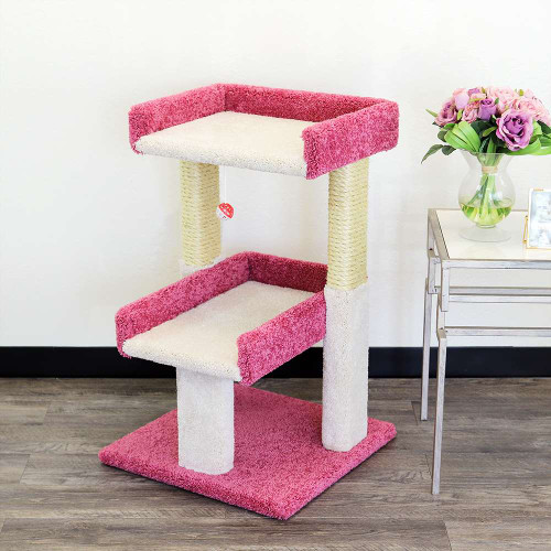 New Cat Condos Large Playful Cat Perch-Pink and White