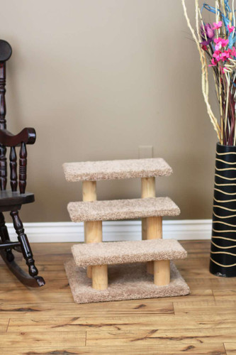 New Cat Condos Wood Constructed Large Pet Stairs for Cats and Dogs in brown carpet