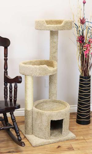 New Cat Condos Solid Wood Cat Tree-Beige