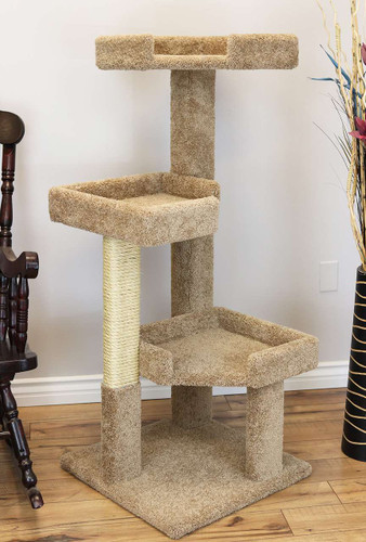 "New Cat Condos 51"" Solid Wood Large Cat Tree-Brown"