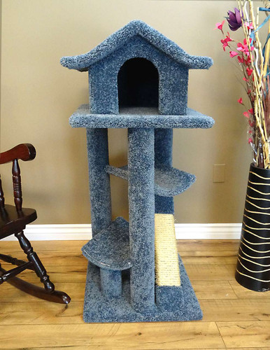 Pagoda Cat Tree with Hammocks  in blue