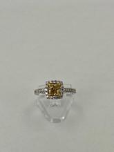 1.01ct Cushion Cut Yellow Diamond Engagement Ring