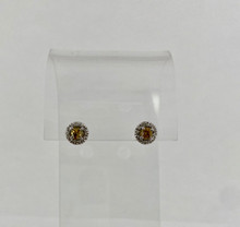 0.64ctw Cushion Cut Yellow Diamond Earrings