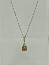 0.49ctw Cushion Cut Yellow Diamond Necklace