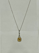 0.49ctw Cushion Cut Yellow Diamond Necklace