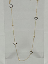 14 Karat Heart and Beads Anklet