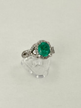 1.52ct Oval Cut Emerald Ring with Diamonds