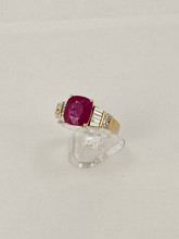 18 karat 3.95ct Cushion Cut Ruby with Diamonds