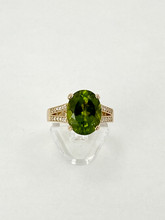 6.18ct Oval Cut Peridot Ring with Diamonds