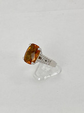 6.50ct Emerald Cut Citrine Ring with Diamonds