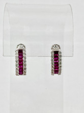 1.39ctw Baguette Rubys and Round Diamonds Earrings