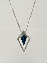 1.08ct London Blue Topaz Necklace with Diamonds