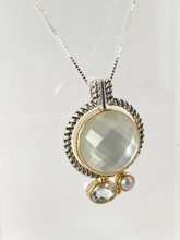 Mother of Pearl, Pearl and White Topaz Reversible Necklace