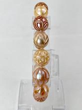 Peach Carved Pearl Bracelet