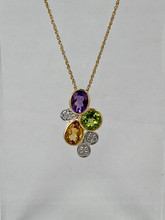 Amethyst, Peridot, and Citrine with Diamonds Necklace
