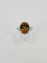 Lusterine Color Changing Stone with White Sapphire Ring