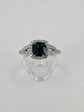 1.90 Green Sapphire White Gold Ring with Diamonds