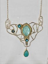 Amazonite, Paraiba Topaz, Blue Topaz Necklace