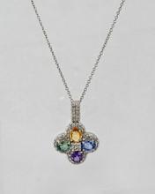 Multicolor Oval Sapphire Pendant with Diamonds
