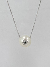 Fresh Water Pearl with 0.08ct Round Diamond Necklace