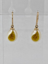 Freshwater Pearl Earrings with Created Yellow Diamonds