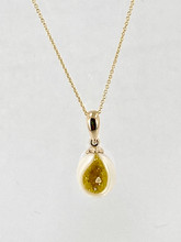 Freshwater Pearl Pendant with Created Yellow Diamonds