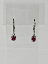 0.57ctw Oval Ruby Earrings with Diamonds