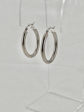 3.5mm Oval Tube White Gold Hoops