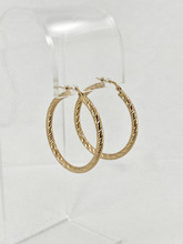 3mm Diamond Cut Round Yellow Gold Hoops