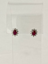 1.28ctw Oval Ruby Earrings with Diamonds
