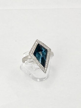 2.91Ct Blue Topaz with Diamonds Ring