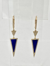 Yellow Gold Lapis and Diamonds Earrings