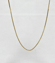 14 Karat Yellow Gold Diamond Cut Spiga Chain