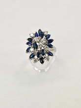 White Gold Sapphires and Diamonds Cluster Ring